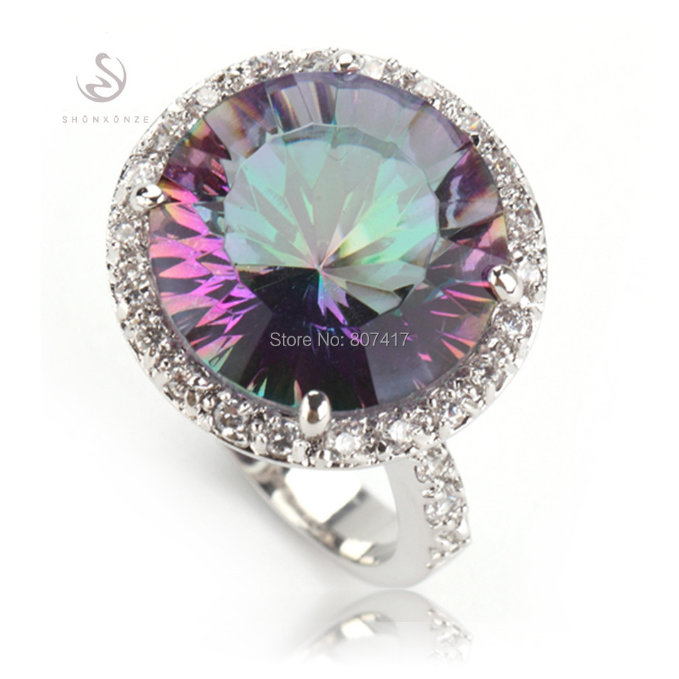 SHUNXUNZE Time limited <font><b>reduction</b></font> Rainbow Mystic stone Silver Plated Noble generous Rings R735 size 6 7 eight 9 Treasurer recommended