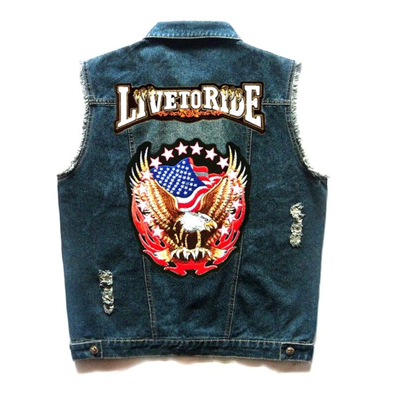 Herobiker Motorcycle Jacket Retro Vintage Motorcycle Hip Hop Punk Summer Classic Vest Eagle Embroidery Badge Cowboy Denim Vest