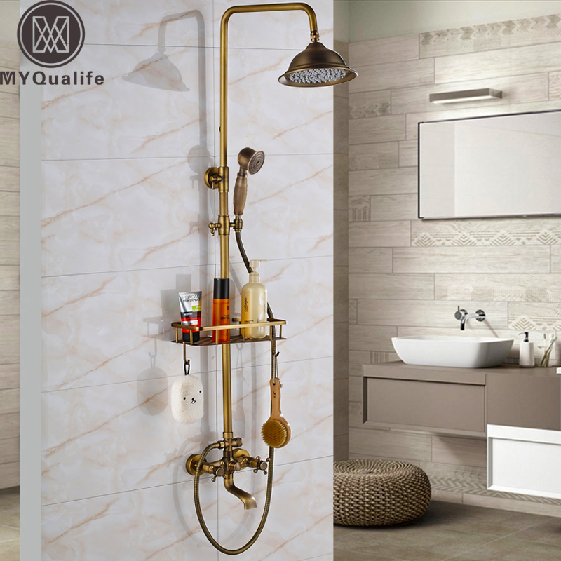 Retro Style Bathroom Shower Set Faucet W/ Commodity Shelf Hooks Antique Brass Bath Shower Mixer Tap Dual Handles Wall Mounted wall mounted dual handles antique brass finish bathroom shower faucet mixer tap