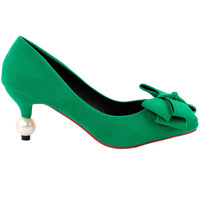 LF60414 Sexy Green Big Bow Stiletto Exquisite Bridal Evening Pointed Toe Pearl Heel Pump