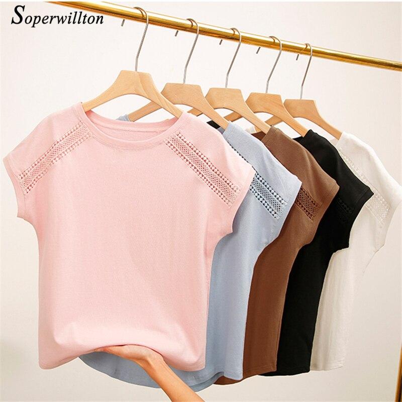 Female T-shirt Women Tops 2019 Summer Cotton T-Shirts For Women Black White Pink Plus Size Tshirt Short Sleeve Women T Shirts