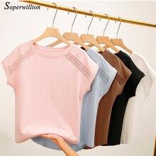 Женские футболки Для женщин топы Летние футболки из хлопка для Для женщин черный, белый, розовый цвет плюс Размеры Футболка короткий рукав Для женщин футболки