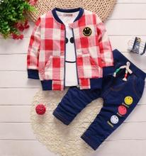 Childrens Wear 2019 Spring Boy Girl Clothes 3Pcs Set Kids Plaid Outfit  Smile Face Long Sleeve Infants Toddler Clothing QHQ076