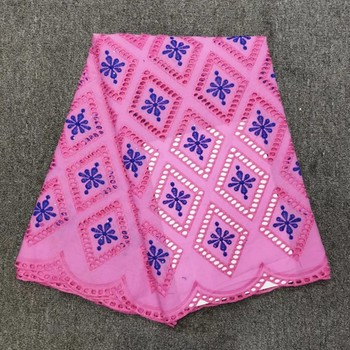 5Yards/pc Hot sale pink african cotton lace fabric blue embroidery swiss voile cotton fabric for clothes HC1-3