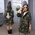 Crianças Casacos de Capuz Para Meninas Tops de Algodão Camuflagem Meninas Trench Coats foguete Patches Crianças Outerwear 3 4 6 8 9 10 12 anos