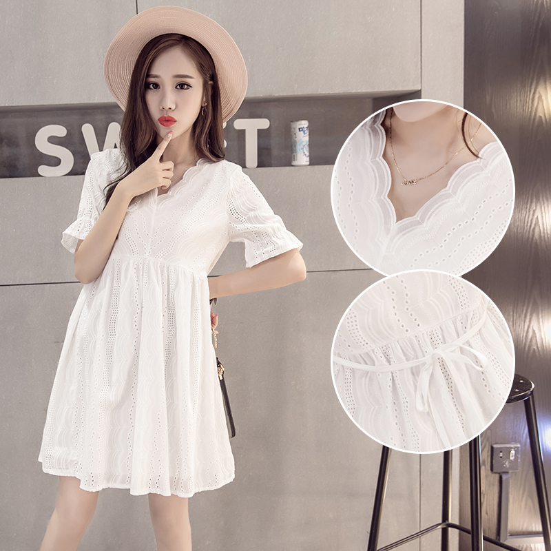 Goaryunve Fashion Cotton Maternity Blouse 2019 Summer Short Sleeve V-neck Hollow Out Lace Shirts Long Loose Pregnant Women Dress Demand Exceeding Supply Maternity Clothing Mother & Kids