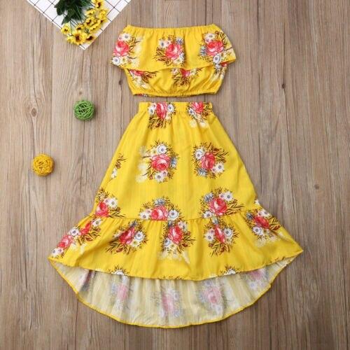 Newborn Kids Baby Girls Flower Off Shoulder Tops Skirt Dress Outfits Clothes Set