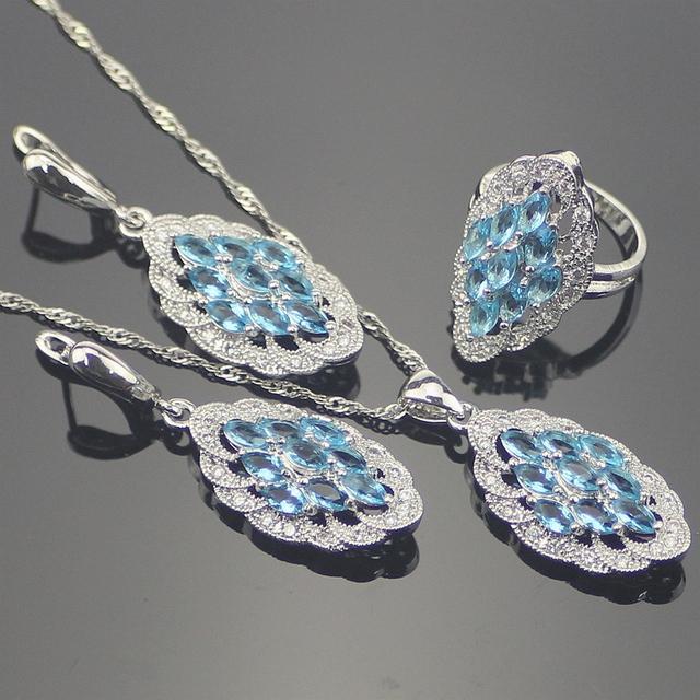 Creado Topacio Azul Natural 925 Joyería de Plata Esterlina Para Las Mujeres Collar Colgante Anillo Del Pendiente Caja de Regalo Libre