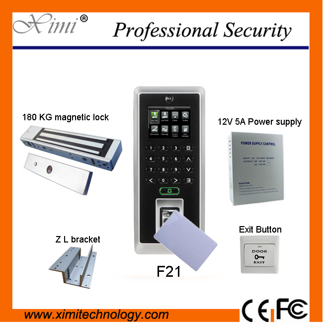 F21 fingerprint access control and time attendance system + 12V5A power supply, lock, support, switch, IC card toolkit