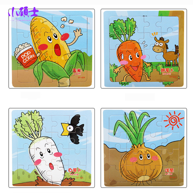 16pcs Fruit Wooden Jigsaw Puzzle Kids Montessori Method Learning Educational Brain Intelligence Development Board
