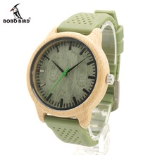 BOBO BIRD New Fashion Bamboo Wood Watches With Soft Silicone Straps Quartz Movement Watch for Women in Gift Boxes LaB06