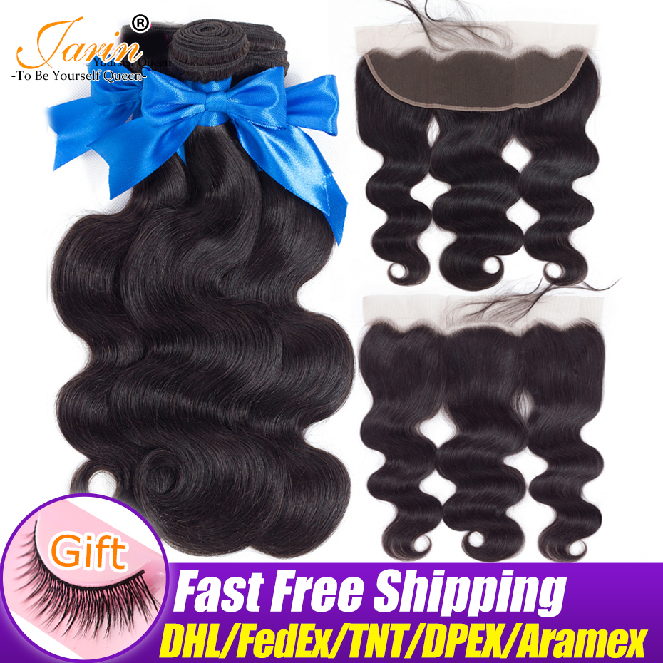JARIN Ear To Ear Lace Frontal Closure With 3 Bundles Body Wave Malaysian Human Hair Weave