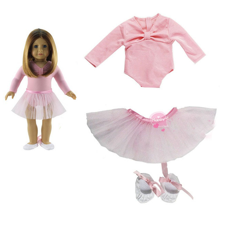 3in1 Set American Girl Doll Clothes of Pink Ballet Doll Dress with Shoes for 18 American Girl Doll Clothes Dancing Doll Dress ...