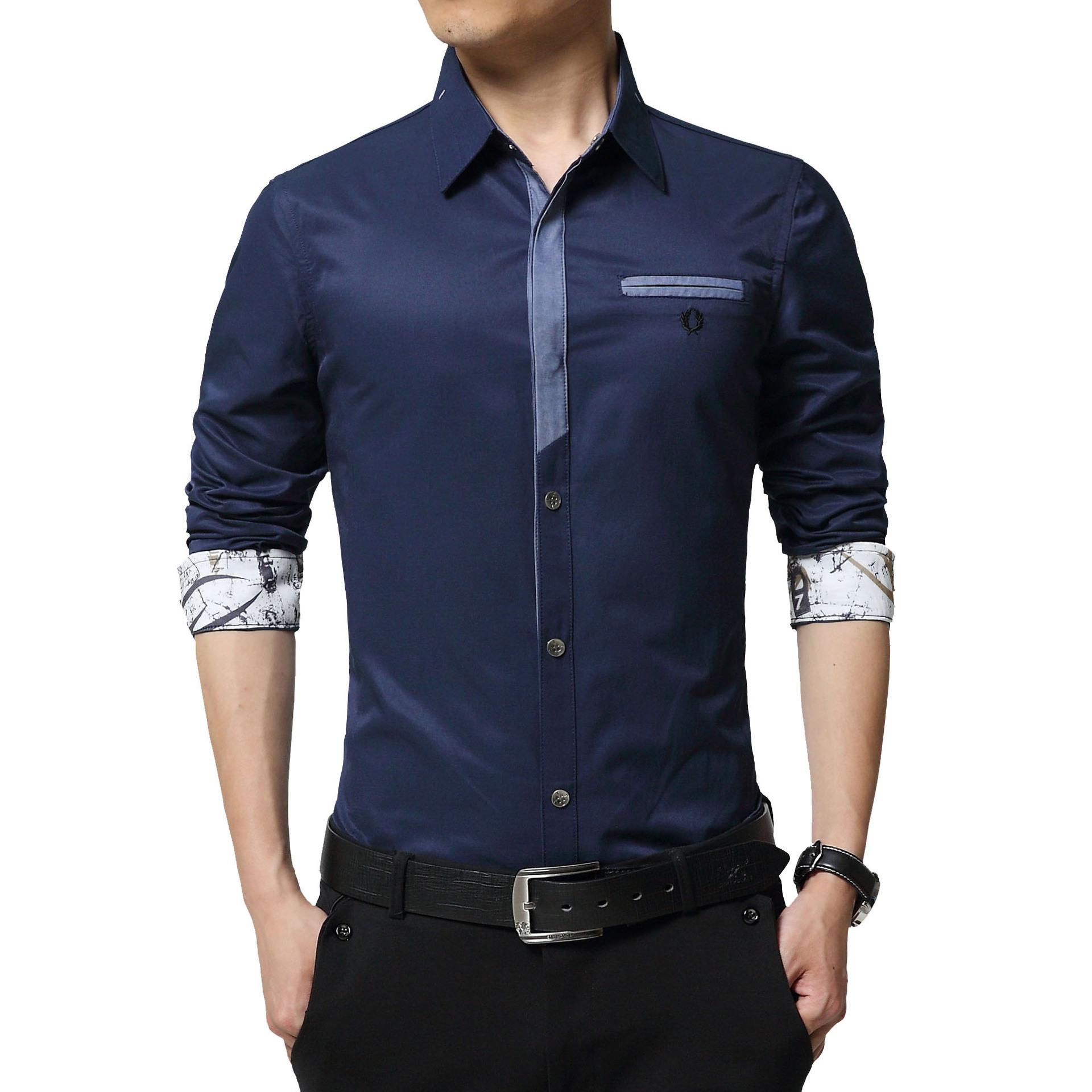 Floral Print Striped Dress Men Shirt Uniform Mens Long Sleeve Slim Fit Top Vintage Cotton Button Down Shirts Camisa Masculina 40