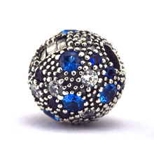 Fit Pandora Charms Bracelet 925 Sterling Silver Blue Cosmic Stars Fixed Clip Stopper Charm Beads for Jewelry Making Berloque