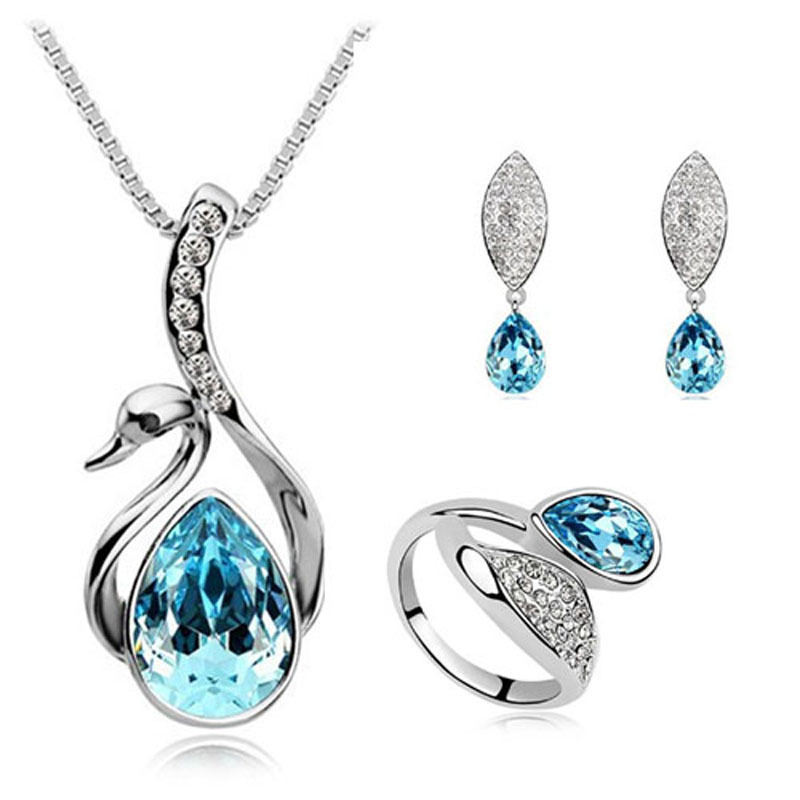 Necklace Jewerly-Sets Swan Crystal Silver-Plated Pendants Stud-Earring/ring Wholesale