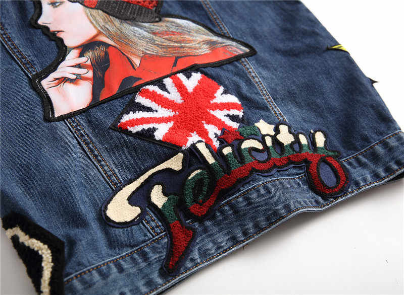 Mens Newest Embroidered Punk Vest Slim Patchwork Tank Top Male Fashion Sleeveless Jacket Jeans Large Size Waistcoats M/3Xl J2869