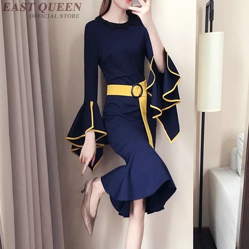Ladies female elegant business office dress for special occasions festival social midi dress with belt flounce