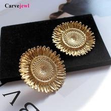 Carvejewl Hyperbole big sunflower stud earrings silver plating simple metal wind European for women girl gift jewelry