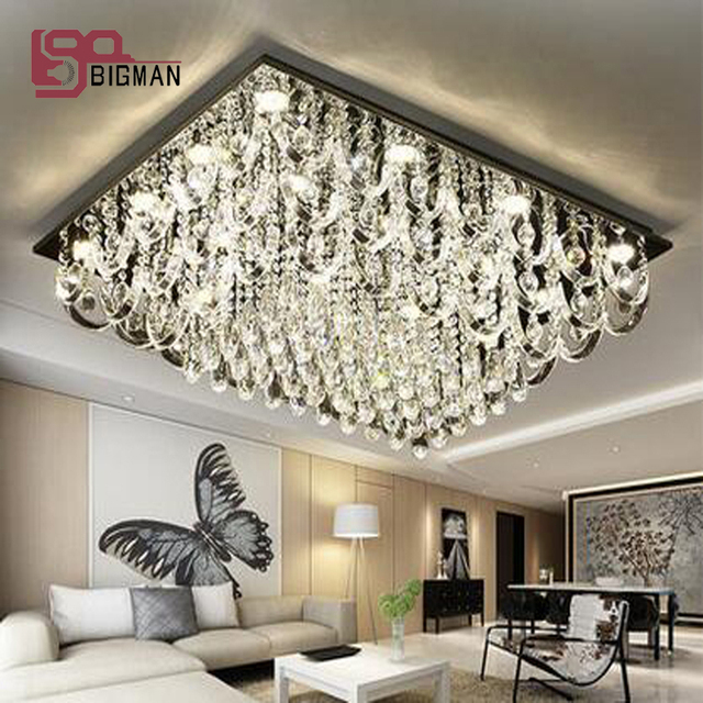 New desgin rectangular crystal chandelier living room lighting new desgin rectangular crystal chandelier living room lighting fixtures gu10 led lamp mozeypictures Gallery