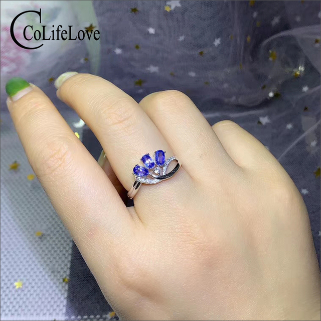 CoLife Jewelry Elegant Tanzanite Ring for Office Woman 3 Pieces 3*5mm Natural Tanzanite Silver Ring 925 Silver Tanzanite Jewelry