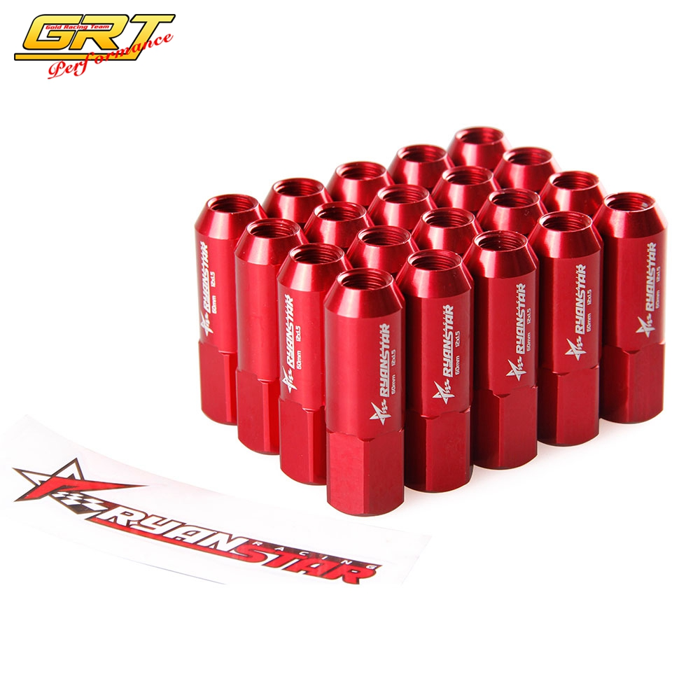 20PC 12X1.5MM 60MM EXTENDED ALUMINUM TUNER RACING CAPPED LUG NUTS RED//BLACK D