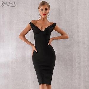 Image 2 - Adyce 2020 חדש קיץ נשים סלבריטאים ערב המפלגה שמלת Vestidos אלגנטי שחור תחרה סלאש צוואר כבוי כתף Bodycon מועדון שמלה