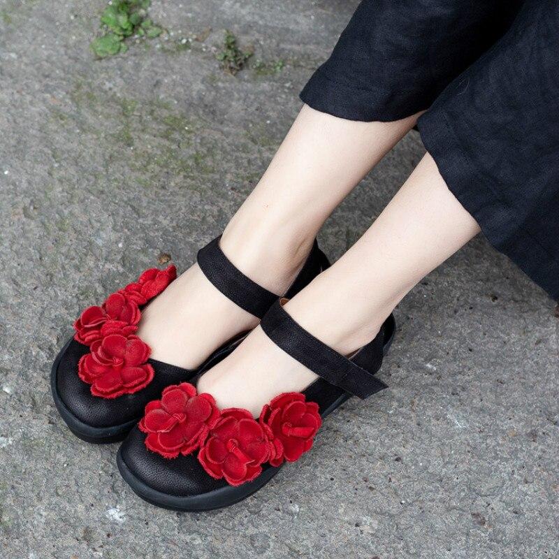 Здесь можно купить  Women Flower Sandals Genuine Leather Summer Shoes Low Heels 2019 Sweet Style Girls Leather Sandals Handmade Women Shoes Tyawkiho  Обувь