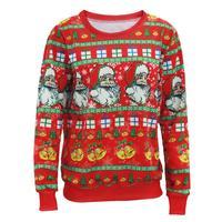 Ugly Sweater Christmas Hombres Mujeres de Santa Claus de navidad Árbol Reno Suéteres Estampados Nueva Media Larga Jerseys Suéter de Impresión A2