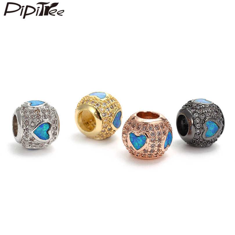 Pipitree DIY כחול אש אופל לב קסם חרוזים מעוקב Zirconia גדול חור עגול קסמי חרוזים fit צמיד שרשרת תכשיטי 2019 חדש