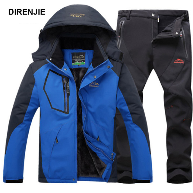DIRENJIE Man Winter Fishing Waterproof Skiing Warm Fur Outdoor Trekking Jacket SoftShell Pant Hiking Camping Travel Suit 5XL S35
