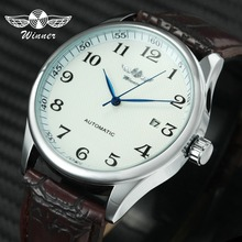 Fashion Business Men Automatic Wrist Watches Leather Strap Male Mechanical Watches Calendar Date Clock montre homme +GIFT BOX  ks automatic watch silver white black leather strap date month mechanical men business brand heren horloge wrist watches ks285