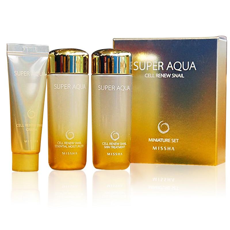 MISSHA Super Aqua Cell Renew Snail Sample 1 Set (Cleasing Foam 20ml+skin Treatment 30ml+Moisturizer 30ml)