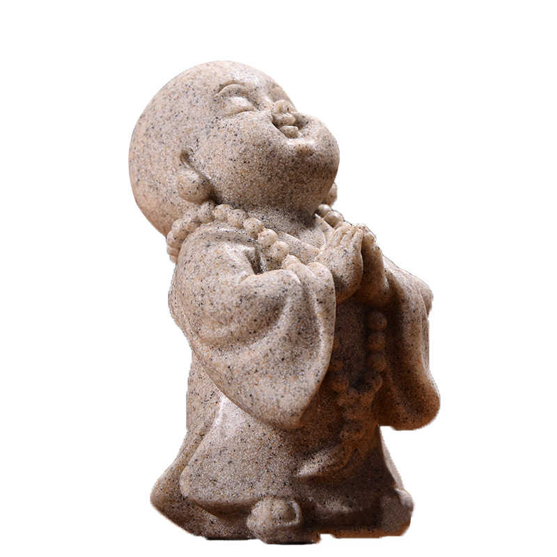 White Sand Small Prayering Buddha Fengshui Statue Maitreya Buddha Sculpture Craft Home Decor Ornament Figurine White/Beige Color