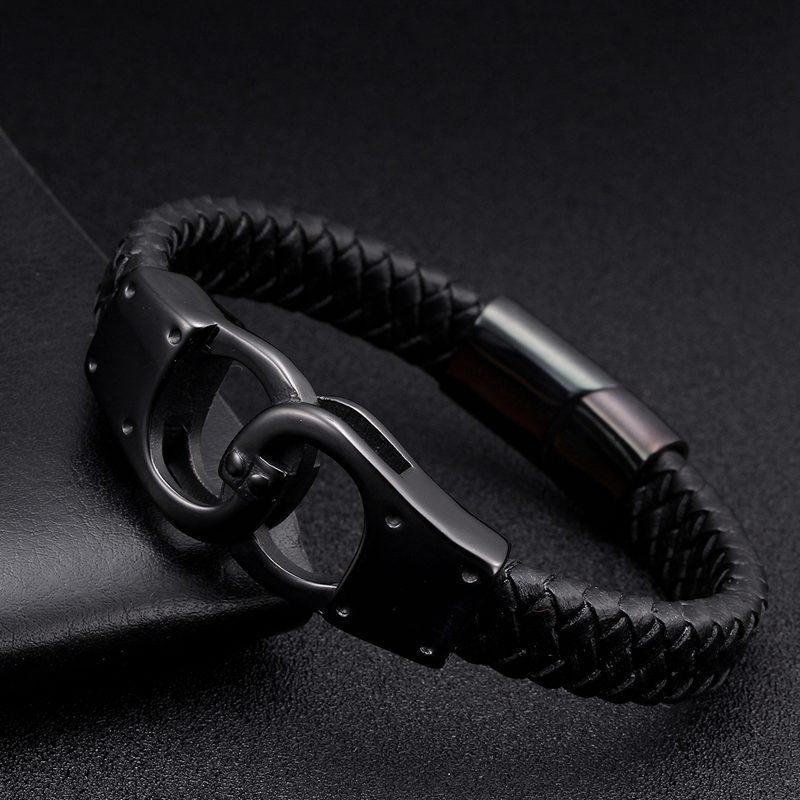 Black Genuine Leather Vintage Braided Charm Cuff Bracelets Trendy Handcuffs Stainless Steel Men Bracelets Bangles Sporty Jewelry