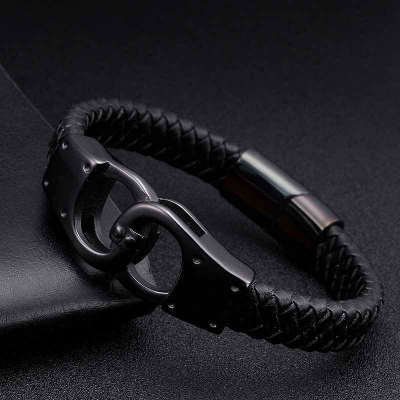 Noir en cuir véritable Vintage tressé brassard breloque Bracelets à la mode menottes en acier inoxydable hommes Bracelets Bracelets bijoux sportifs