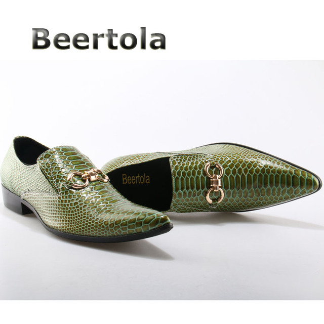 f7ad9d1285 Beertola Fashion Army Green Snakeskin Shoes for Men Pointed Toe Metallic  Decorated Slip On Men Leather Shoes Mens Flats