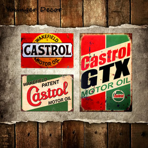 Retro Metal Tin Sign Castrol GTX Motor Oil Home Decor BP Motor Oils Wall Art Painting Metal Plaques Gas Station Decoration YA076(China)