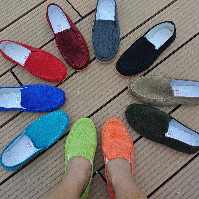 Hot sale men discount loafers neon color slip on canvas shoes flat casuall shoes driving mocassins plus size 38-45 модные футболки