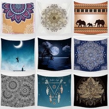 Fashion vintage moon feather flowers macrame wall hanging tapestry home decoration wall tapestry  square tapestry