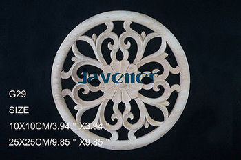 G29 -10x10cm Wood Carved Round Onlay Applique Unpainted Frame Door Decal Working carpenter Flower image