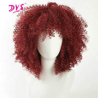 Deyngs Short Pixie Cut Afro Kinky Curly Synthetic Wigs With Bangs For Black Women Natural Black