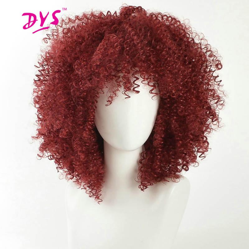 Deyngs Short Pixie Cut Afro Kinky Curly Synthetic Wigs With Bangs For Black Women Natural Black/Red African American Hair Wigs