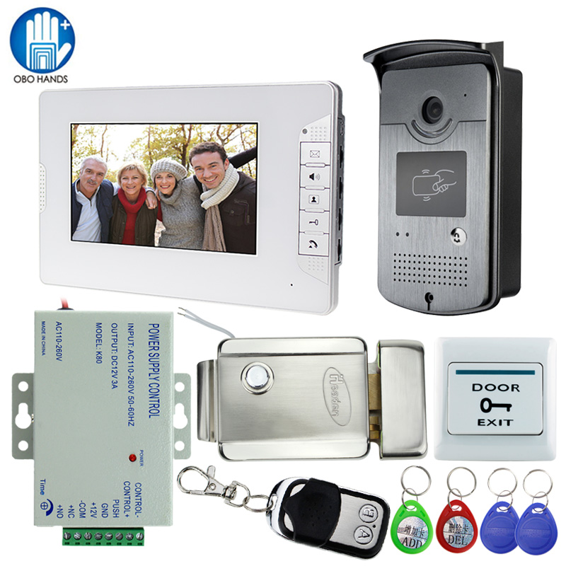 7 Video Intercom Door Phone System With 1 White Monitor 1 RFID Card Reader HD Doorbell Camera with DC 12V 3A Power Supply K80