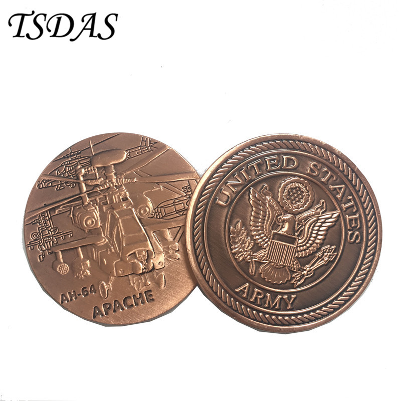 US Army Force AH-64 APACHE Metal Token Coin 40*3mm Bronze Plated Souvenir Coin New Military Coins