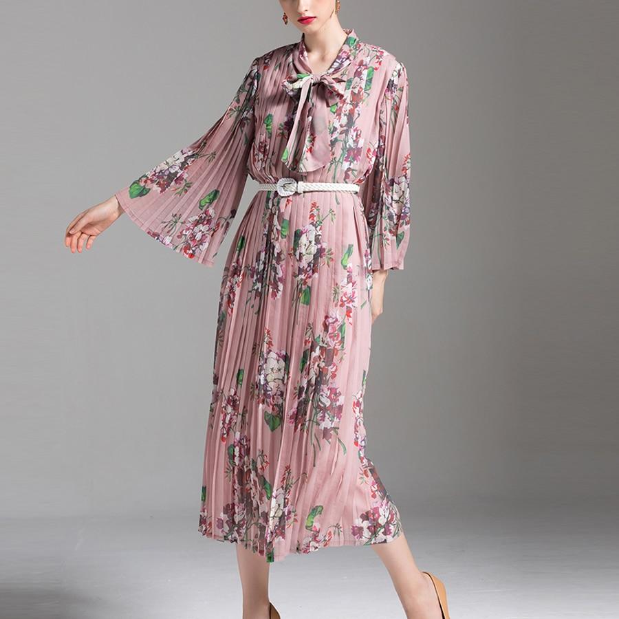 VERDEJULIAY robes plissées élégantes été 2019 imprimé Floral manches évasées col à noeud mi-mollet robe bohème avec ceinture
