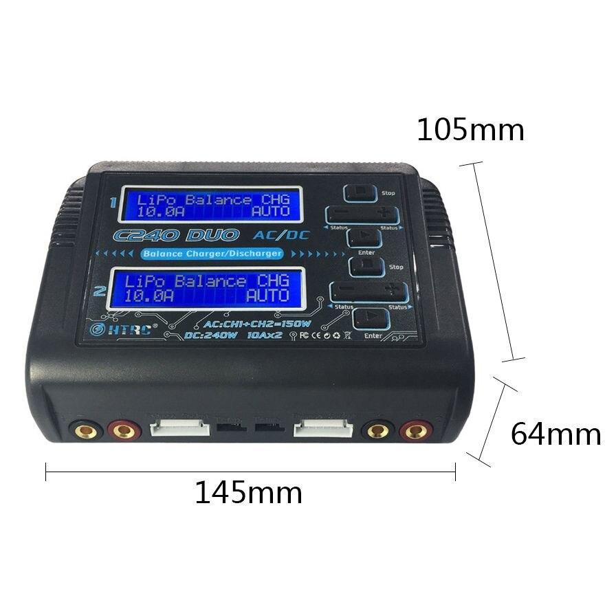 HTRC C240 DUO AC 150W DC 240W double canal 10A RC Balance lipo chargeur de batterie