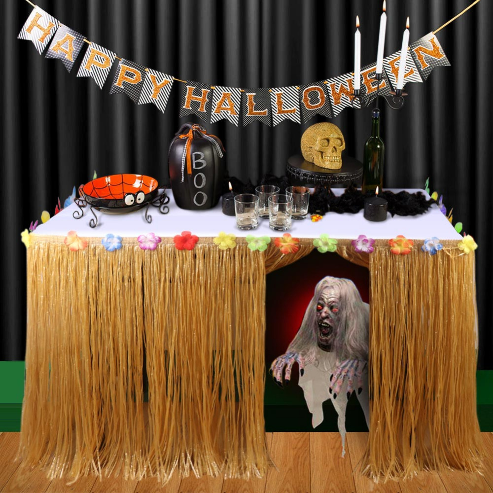 halloween props decorations artificial grass table skirt for home horror table decoration accessories event party supplies
