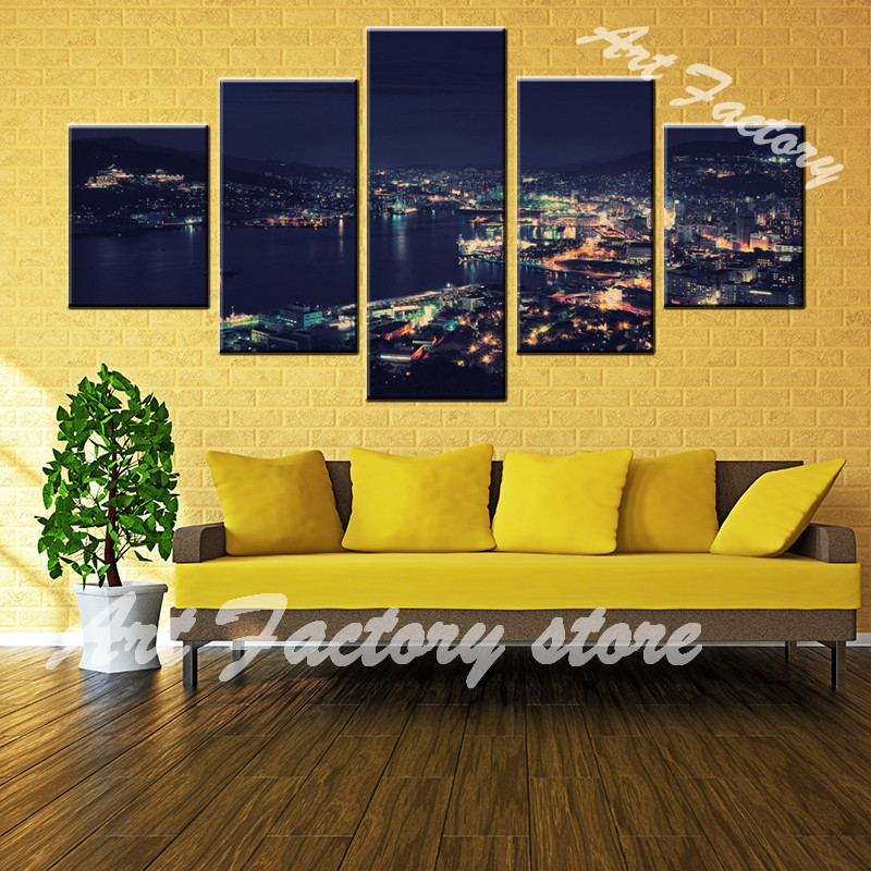 Modular Poster Print Painting Wall Art Modern 5 Panel Building City ...