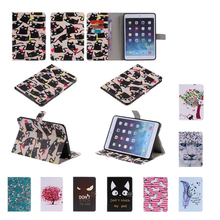 For Apple iPad Mini Case Tiger sample Leather-based Case cowl For ipad Mini 1 2 three pill with Magnetic Auto Wake Up Sleep card slot